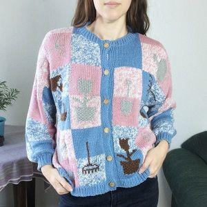 Vintage • hand knit garden themed cardigan sweater